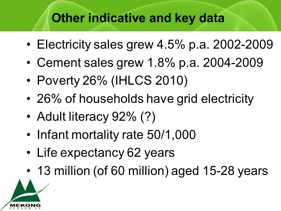 Other indicative and key data Electricity sales grew 4.5% p.a.