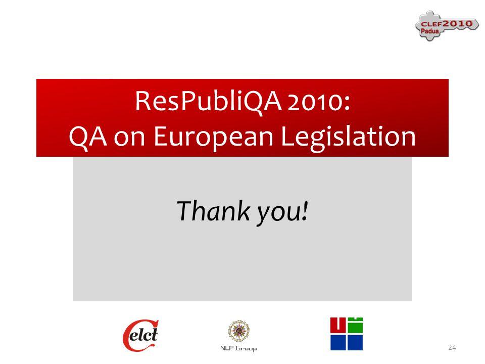 ResPubliQA 2010: QA on European Legislation Thank you! 24