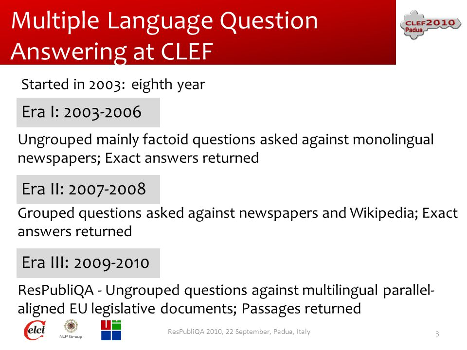 Multiple Language Question Answering at CLEF ResPubliQA 2010, 22 September, Padua, Italy 3 Era I: 2003-2006 Era II: 2007-2008 Era III: 2009-2010 Ungrouped mainly factoid questions asked against monolingual newspapers; Exact answers returned Grouped questions asked against newspapers and Wikipedia; Exact answers returned ResPubliQA - Ungrouped questions against multilingual parallel- aligned EU legislative documents; Passages returned Started in 2003: eighth year
