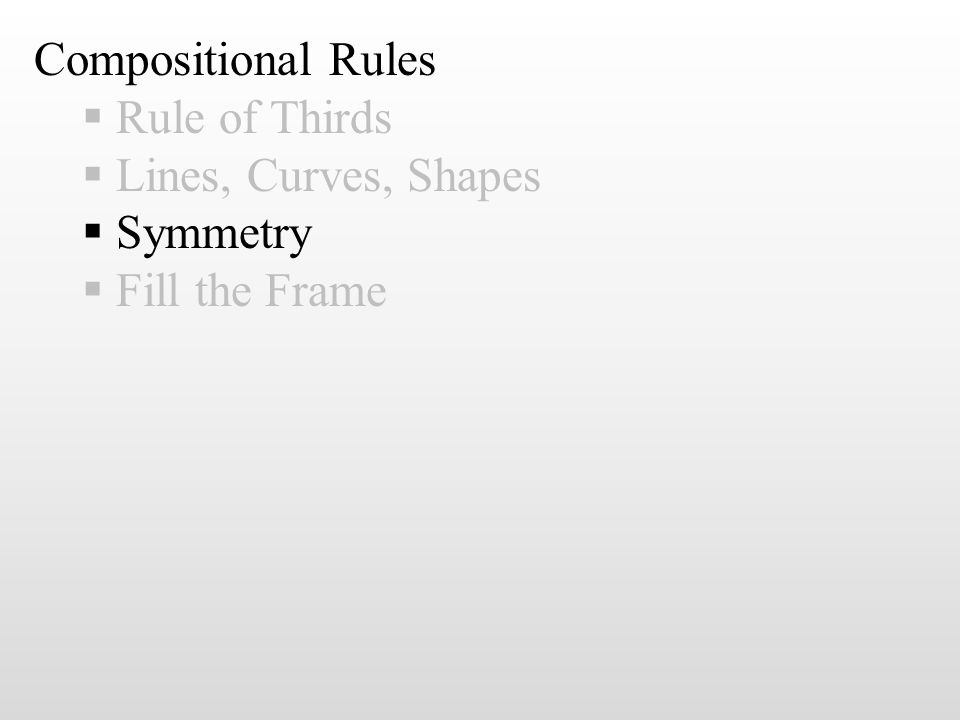 Compositional Rules  Rule of Thirds  Lines, Curves, Shapes  Symmetry  Fill the Frame