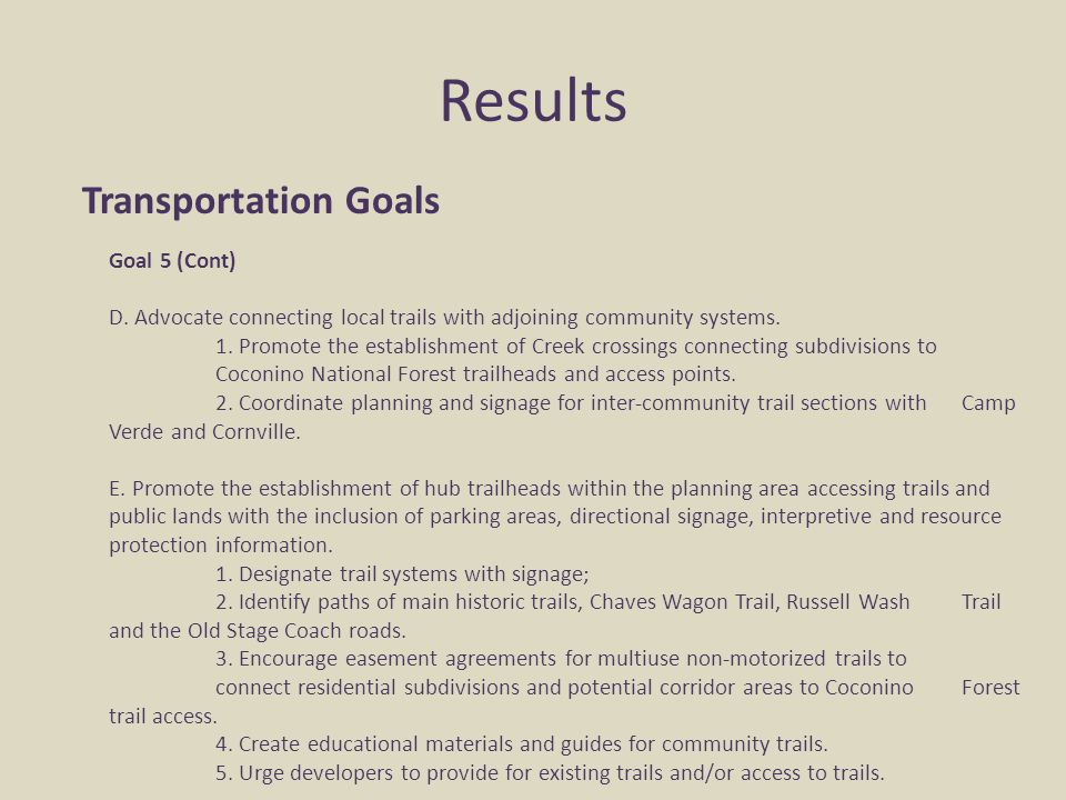 Results Transportation Goals Goal 5 (Cont) D. Advocate connecting local trails with adjoining community systems. 1. Promote the establishment of Creek