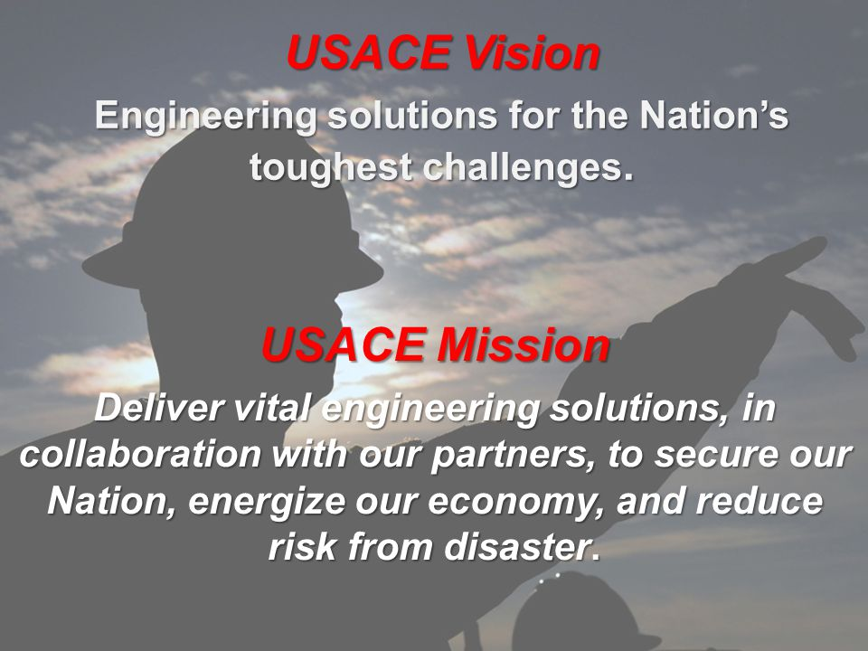 US Army Corps of Engineers BUILDING STRONG ® USACE Vision Engineering solutions for the Nation's toughest challenges.
