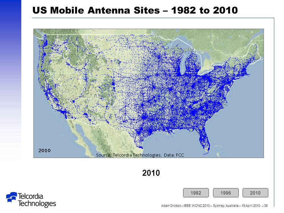 Adam Drobot – IEEE WCNC 2010 – Sydney, Australia – 19 April 2010 – 38 US Mobile Antenna Sites – 1982 to 2010 2010 198219962010