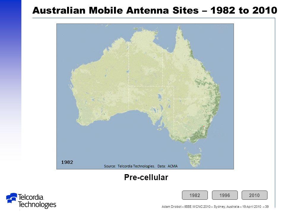 Adam Drobot – IEEE WCNC 2010 – Sydney, Australia – 19 April 2010 – 39 Pre-cellular Australian Mobile Antenna Sites – 1982 to 2010 198219962010