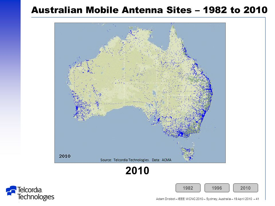 Adam Drobot – IEEE WCNC 2010 – Sydney, Australia – 19 April 2010 – 41 2010 Australian Mobile Antenna Sites – 1982 to 2010 198219962010