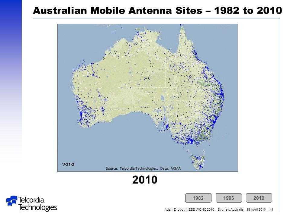 Adam Drobot – IEEE WCNC 2010 – Sydney, Australia – 19 April 2010 – 41 2010 Australian Mobile Antenna Sites – 1982 to 2010 198219962010