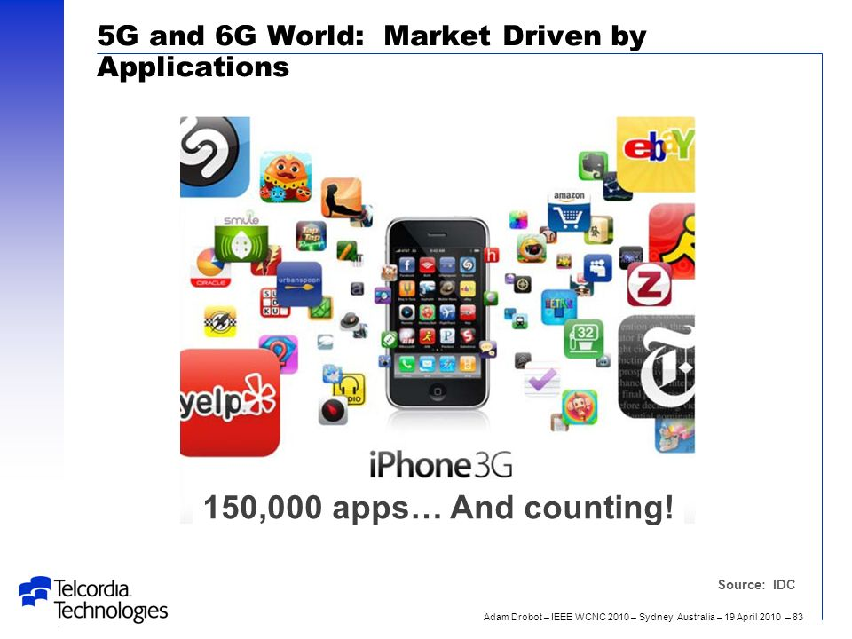 Adam Drobot – IEEE WCNC 2010 – Sydney, Australia – 19 April 2010 – 83 5G and 6G World: Market Driven by Applications Source: IDC 150,000 apps… And counting!