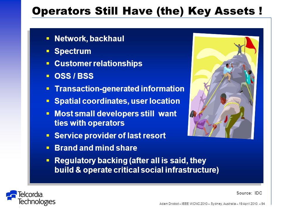 Adam Drobot – IEEE WCNC 2010 – Sydney, Australia – 19 April 2010 – 94 Operators Still Have (the) Key Assets !  Network, backhaul  Spectrum  Custome