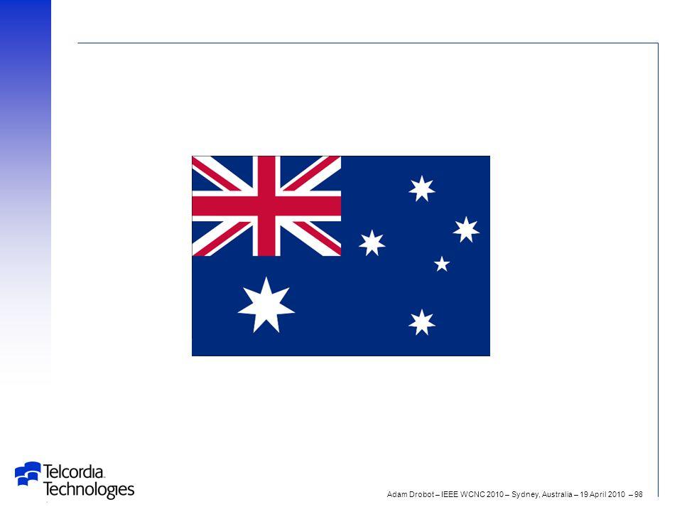 Adam Drobot – IEEE WCNC 2010 – Sydney, Australia – 19 April 2010 – 98 G'day