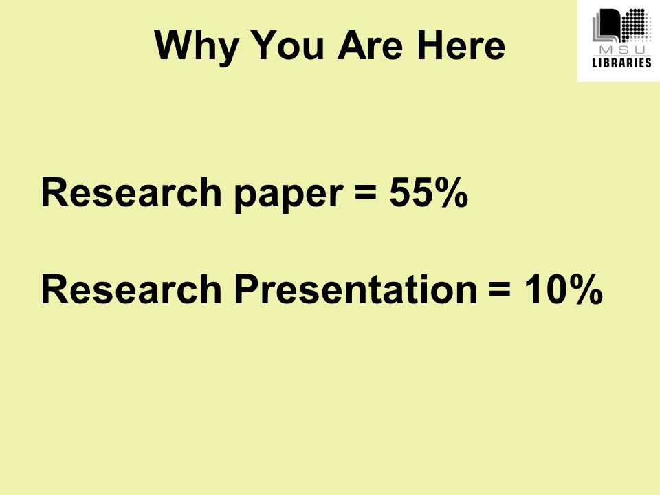 Why You Are Here Research paper = 55% Research Presentation = 10%