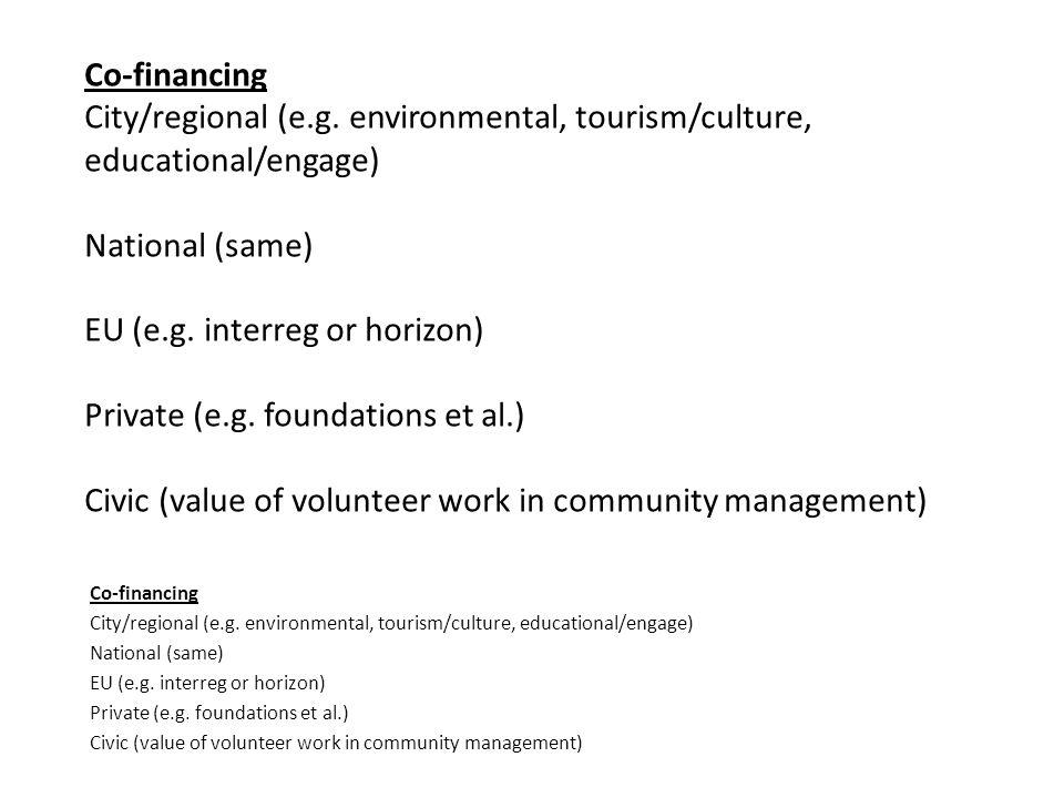 Co-financing City/regional (e.g.
