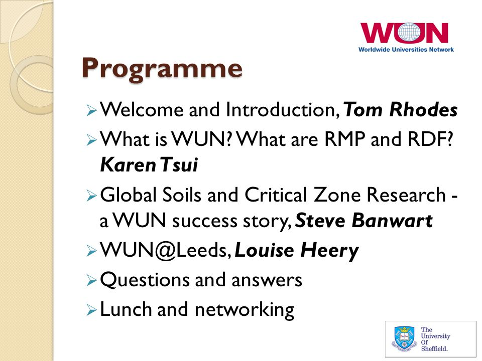 Programme  Welcome and Introduction, Tom Rhodes  What is WUN.
