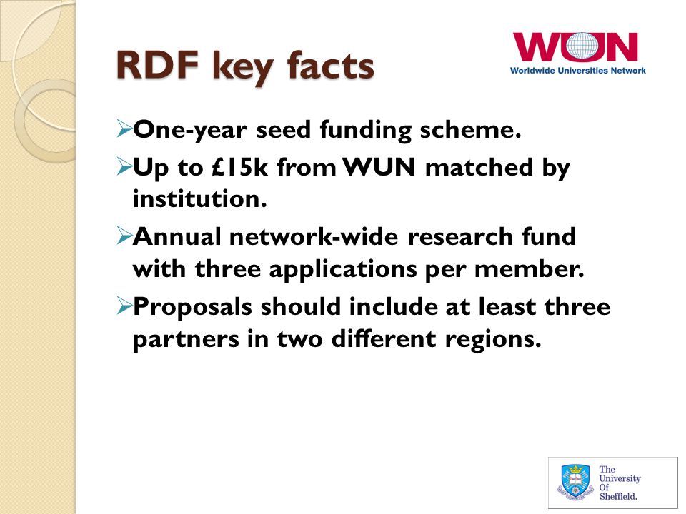 RDF key facts  One-year seed funding scheme.  Up to £15k from WUN matched by institution.  Annual network-wide research fund with three application
