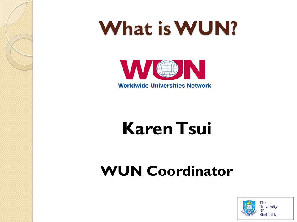 What is WUN? Karen Tsui WUN Coordinator