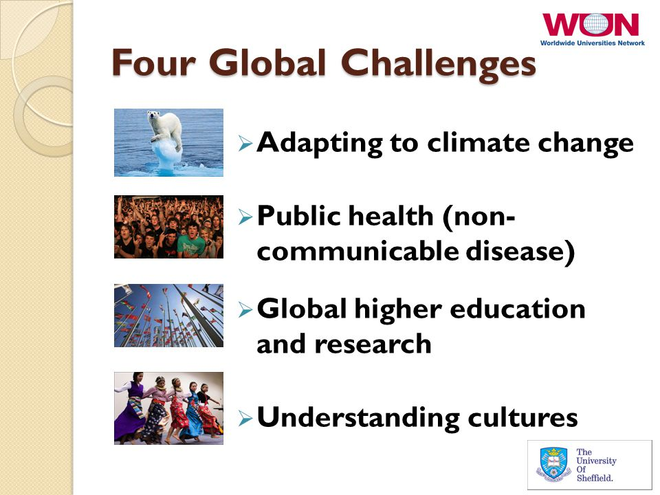 Four Global Challenges  Adapting to climate change  Public health (non- communicable disease)  Global higher education and research  Understanding cultures