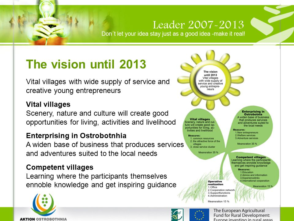The vision until 2013 Vital villages with wide supply of service and creative young entrepreneurs Vital villages Scenery, nature and culture will create good opportunities for living, activities and livelihood Enterprising in Ostrobotnhia A widen base of business that produces services and adventures suited to the local needs Competent villages Learning where the participants themselves ennoble knowledge and get inspiring guidance