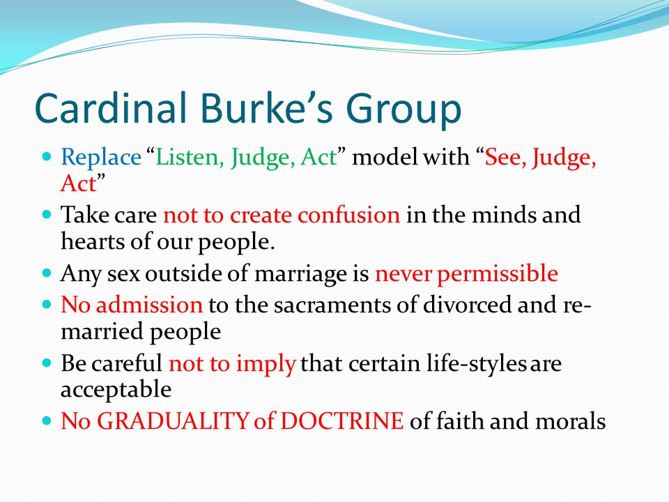 """Cardinal Burke's Group Replace """"Listen, Judge, Act"""" model with """"See, Judge, Act"""" Take care not to create confusion in the minds and hearts of our peop"""
