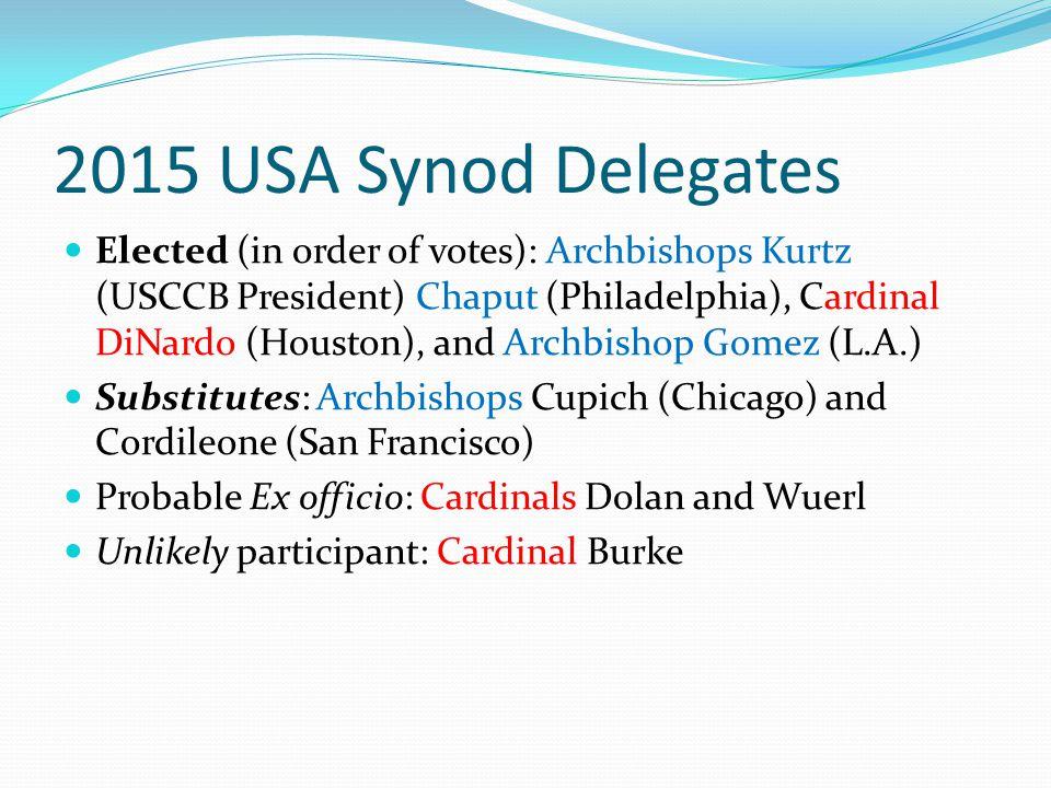 2015 USA Synod Delegates Elected (in order of votes): Archbishops Kurtz (USCCB President) Chaput (Philadelphia), Cardinal DiNardo (Houston), and Archb
