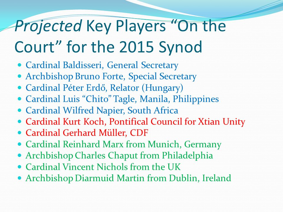 Projected Key Players On the Court for the 2015 Synod Cardinal Baldisseri, General Secretary Archbishop Bruno Forte, Special Secretary Cardinal Péter Erdő, Relator (Hungary) Cardinal Luis Chito Tagle, Manila, Philippines Cardinal Wilfred Napier, South Africa Cardinal Kurt Koch, Pontifical Council for Xtian Unity Cardinal Gerhard Müller, CDF Cardinal Reinhard Marx from Munich, Germany Archbishop Charles Chaput from Philadelphia Cardinal Vincent Nichols from the UK Archbishop Diarmuid Martin from Dublin, Ireland