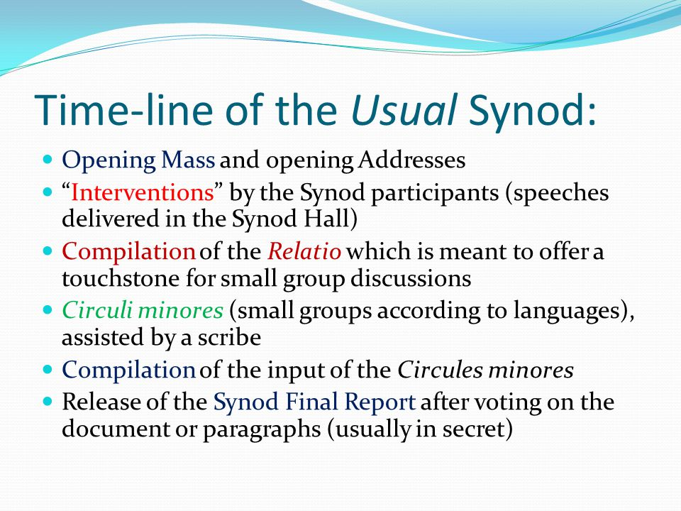 """Time-line of the Usual Synod: Opening Mass and opening Addresses """"Interventions"""" by the Synod participants (speeches delivered in the Synod Hall) Comp"""