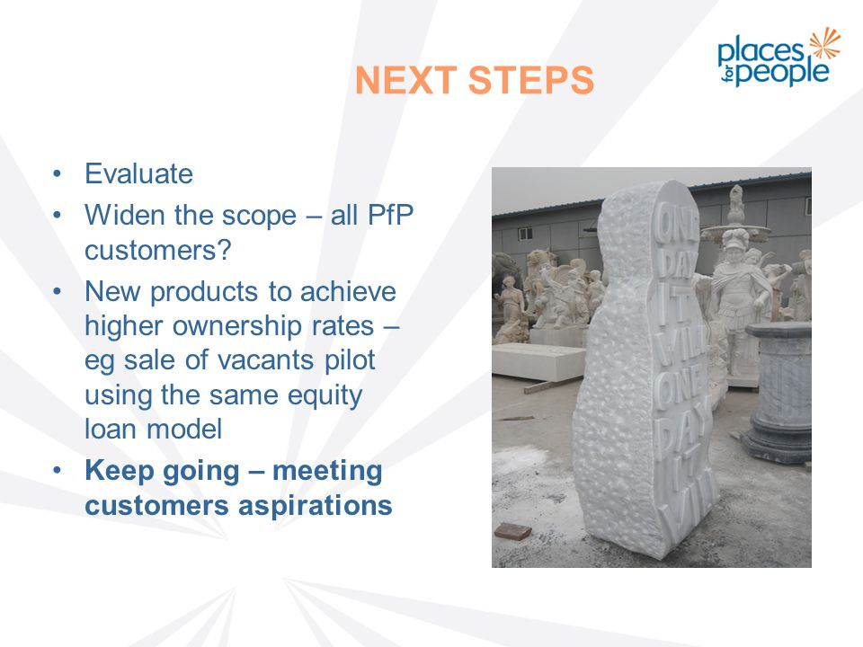 NEXT STEPS Evaluate Widen the scope – all PfP customers.