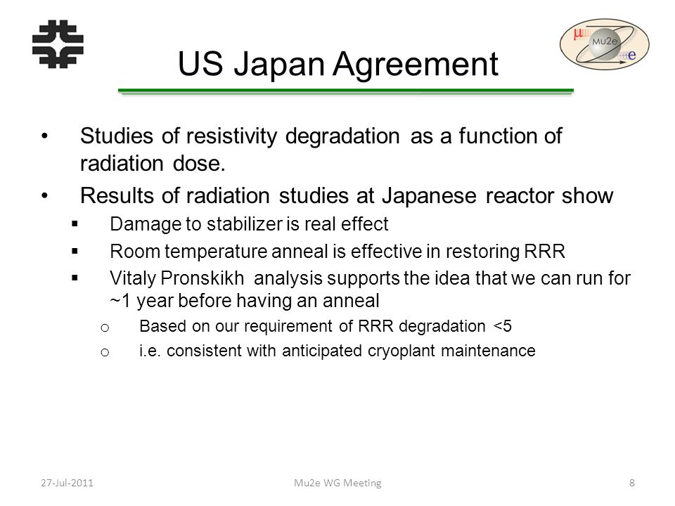 US Japan Agreement Studies of resistivity degradation as a function of radiation dose.