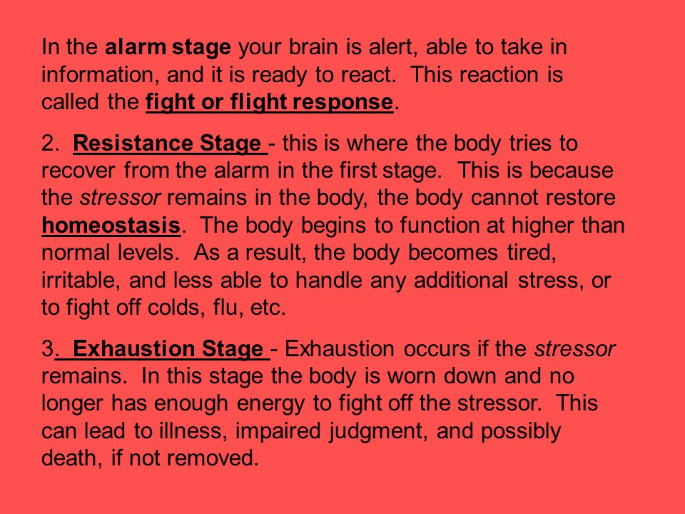 Therefore the three physiological response to continuous stress, including the alarm, resistance and exhaustion stages is known as the General Adaptation Syndrome.