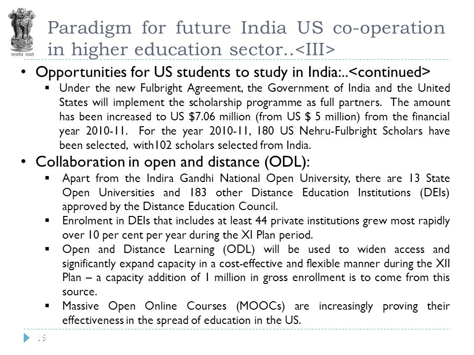19 Paradigm for future India US co-operation in higher education sector..