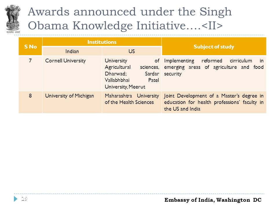 29 Awards announced under the Singh Obama Knowledge Initiative….