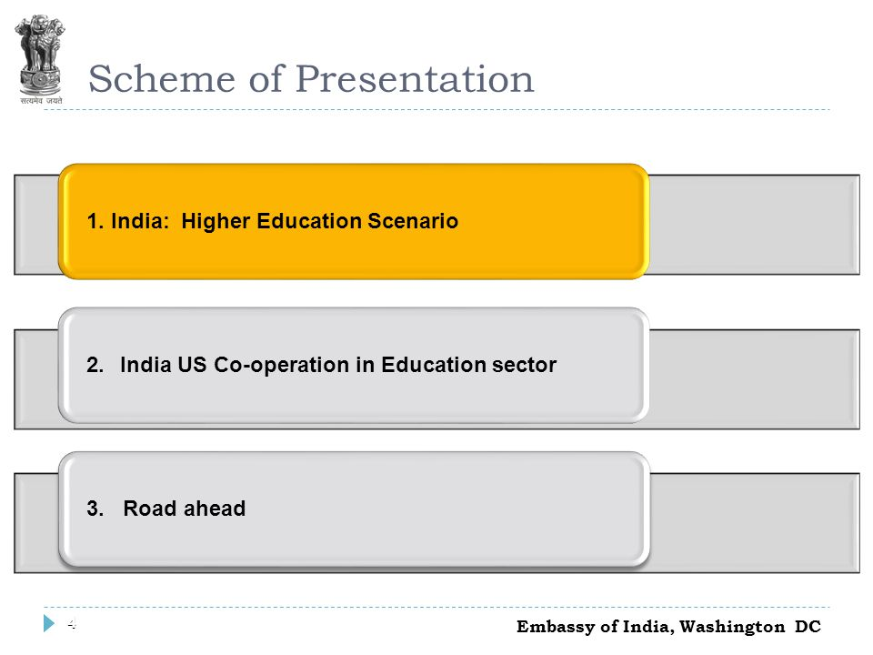 4 Scheme of Presentation 1. India: Higher Education Scenario2. India US Co-operation in Education sector3. Road ahead 4 Embassy of India, Washington D