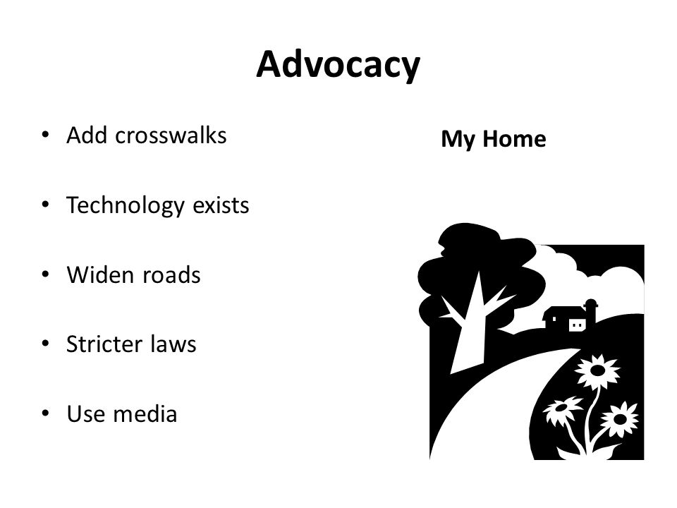 Advocacy Add crosswalks Technology exists Widen roads Stricter laws Use media My Home