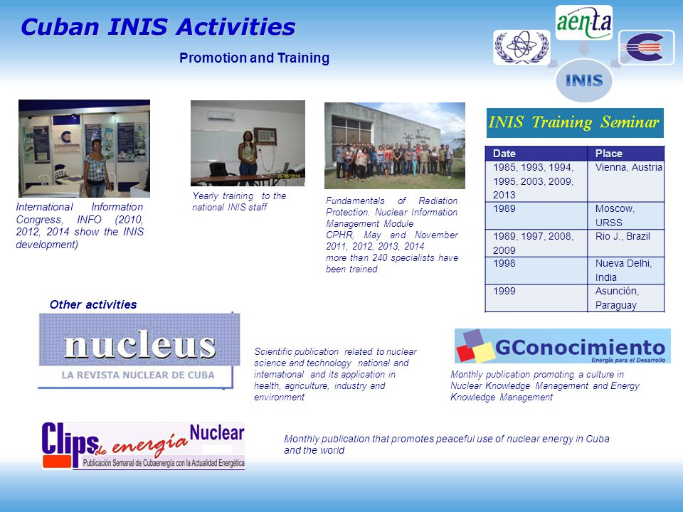Cuban INIS Activities International Information Congress, INFO (2010, 2012, 2014 show the INIS development) Other activities Monthly publication that promotes peaceful use of nuclear energy in Cuba and the world Scientific publication related to nuclear science and technology national and international and its application in health, agriculture, industry and environment Promotion and Training Monthly publication promoting a culture in Nuclear Knowledge Management and Energy Knowledge Management Fundamentals of Radiation Protection.