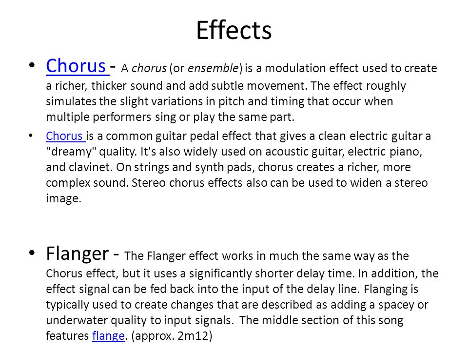 Higher Music Technology Effects and Processes