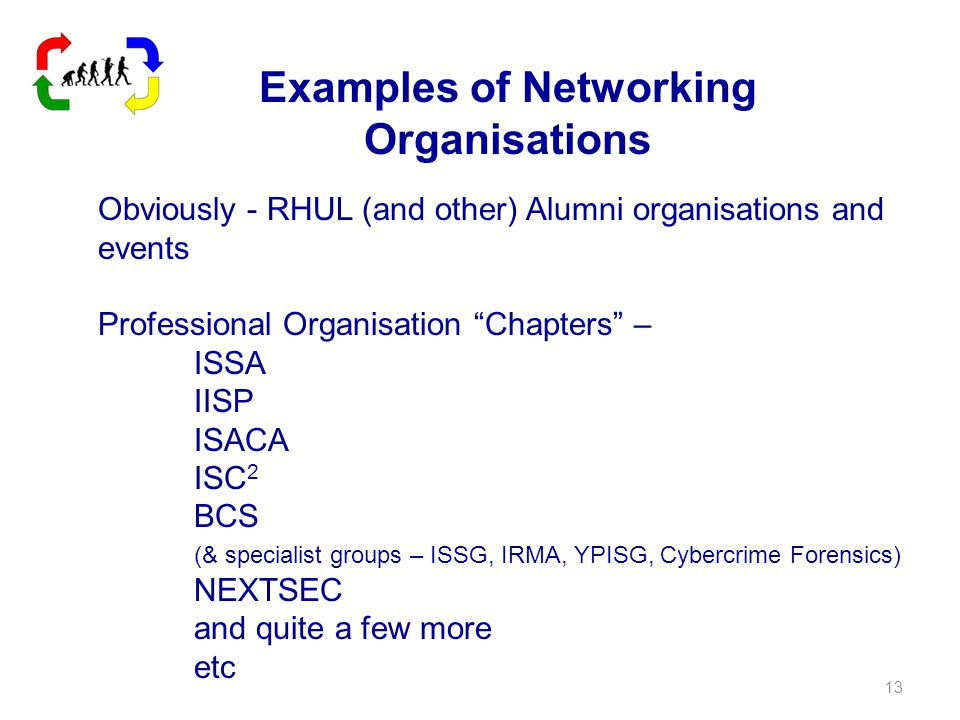 Examples of Networking Organisations Obviously - RHUL (and other) Alumni organisations and events Professional Organisation Chapters – ISSA IISP ISACA ISC 2 BCS (& specialist groups – ISSG, IRMA, YPISG, Cybercrime Forensics) NEXTSEC and quite a few more etc 13