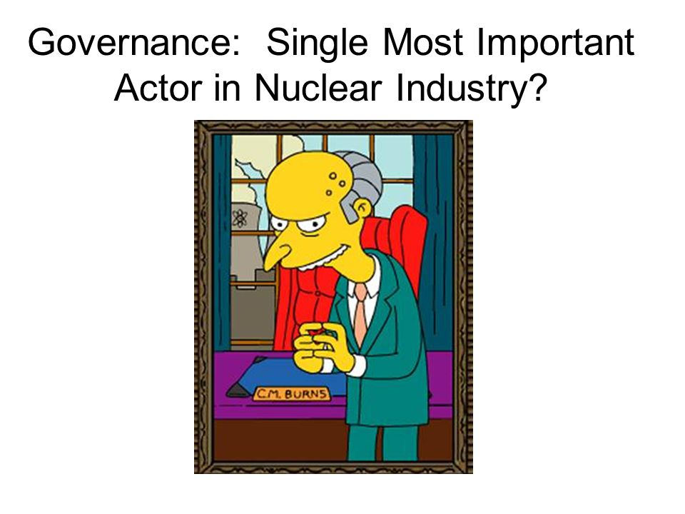 February 13, 2013 sustainable energy policy29 Governance: Single Most Important Actor in Nuclear Industry