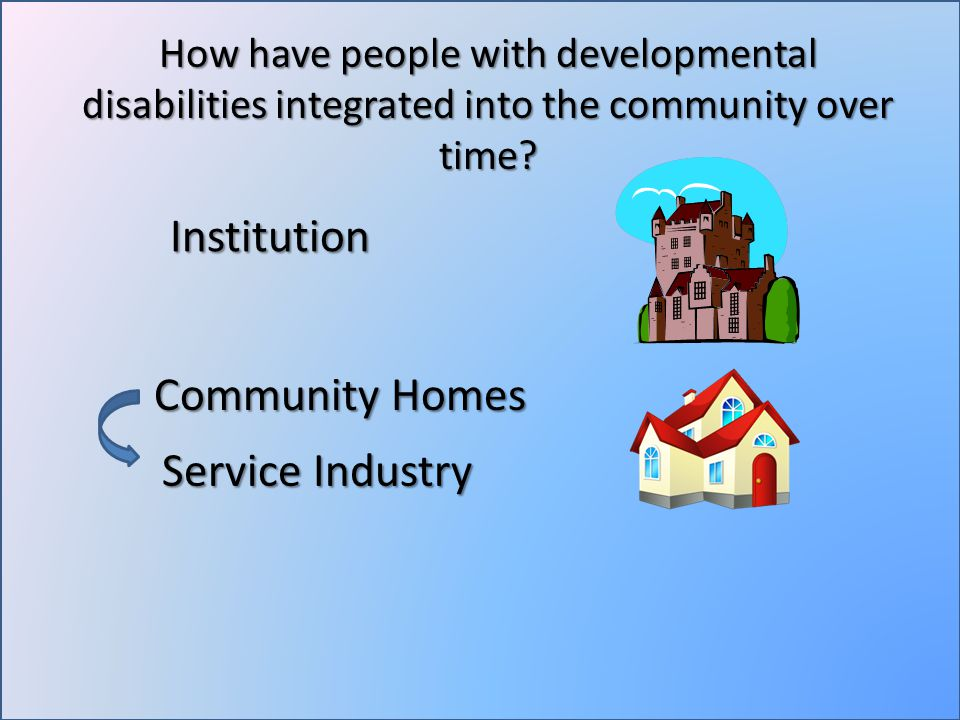 How have people with developmental disabilities integrated into the community over time.