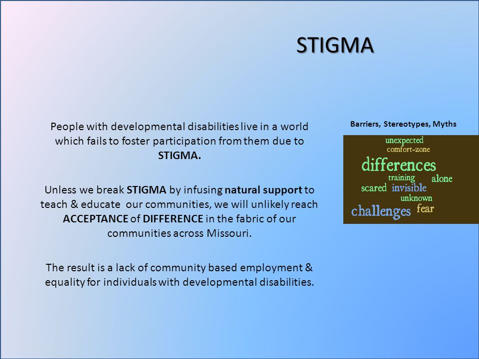 STIGMA People with developmental disabilities live in a world which fails to foster participation from them due to STIGMA.
