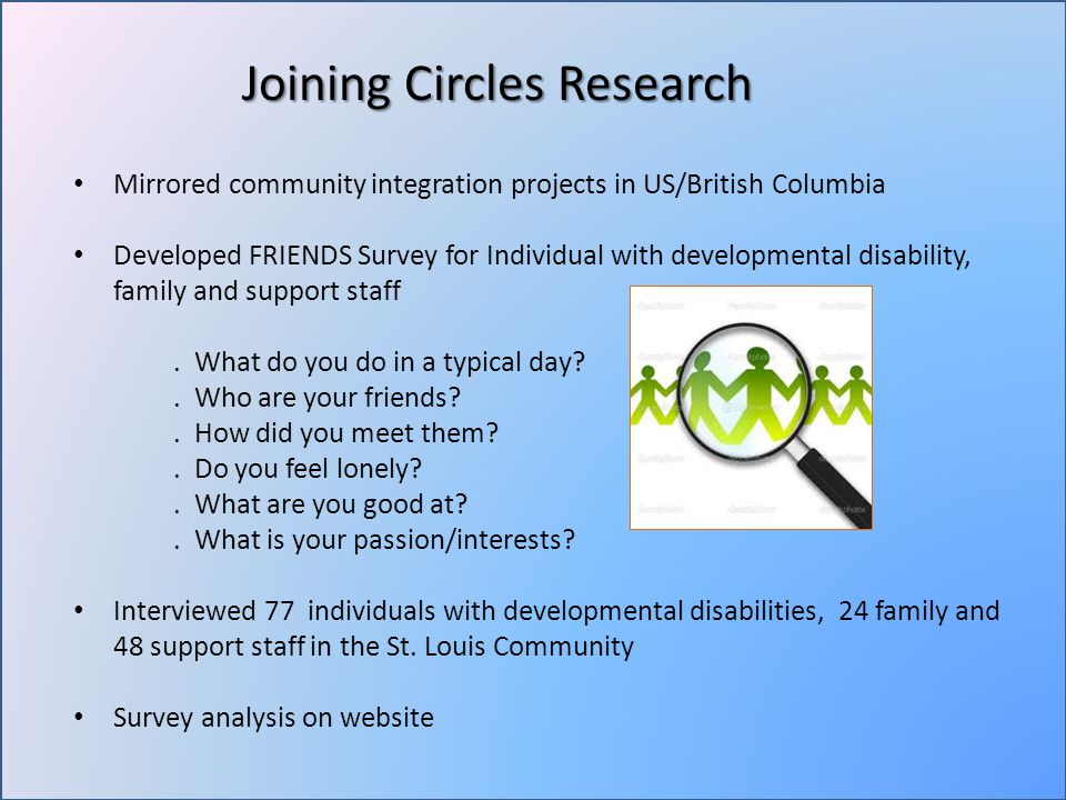 Mirrored community integration projects in US/British Columbia Developed FRIENDS Survey for Individual with developmental disability, family and support staff.