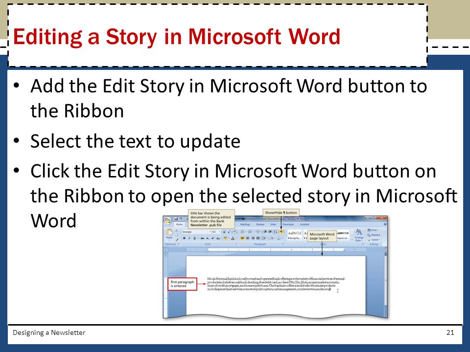 Add the Edit Story in Microsoft Word button to the Ribbon Select the text to update Click the Edit Story in Microsoft Word button on the Ribbon to ope