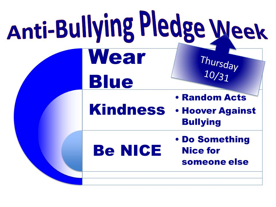 Wear Blue Kindness Be NICE Random Acts Hoover Against Bullying Do Something Nice for someone else Thursday 10/31 Thursday 10/31