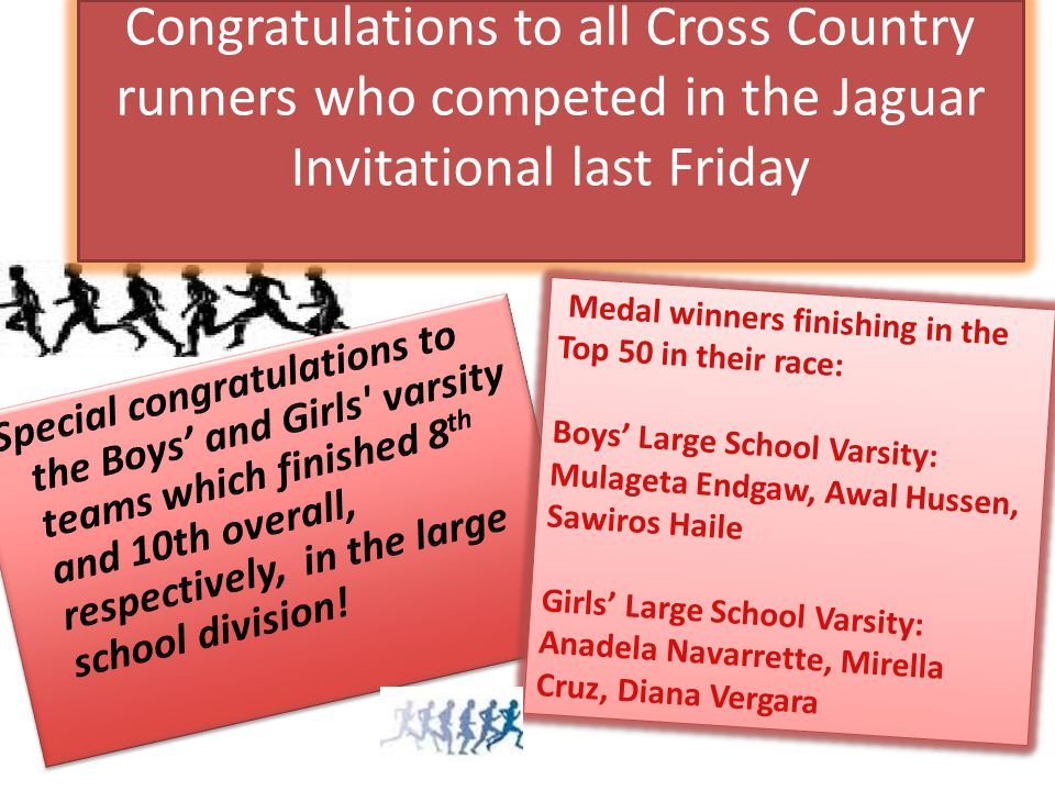 Congratulations to all Cross Country runners who competed in the Jaguar Invitational last Friday Medal winners finishing in the Top 50 in their race: Boys' Large School Varsity: Mulageta Endgaw, Awal Hussen, Sawiros Haile Girls' Large School Varsity: Anadela Navarrette, Mirella Cruz, Diana Vergara Medal winners finishing in the Top 50 in their race: Boys' Large School Varsity: Mulageta Endgaw, Awal Hussen, Sawiros Haile Girls' Large School Varsity: Anadela Navarrette, Mirella Cruz, Diana Vergara
