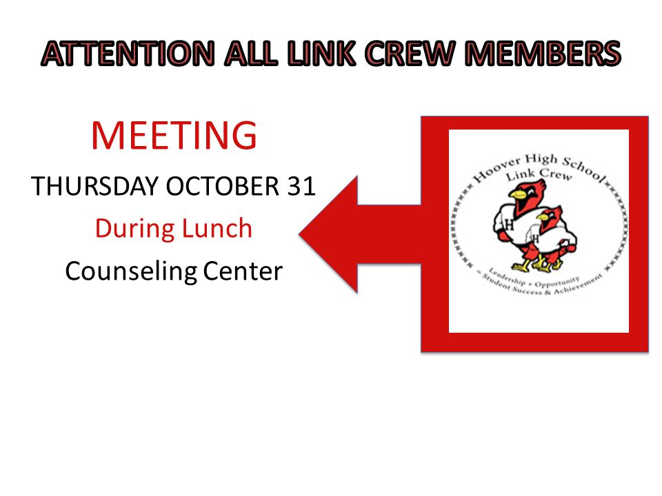 MEETING THURSDAY OCTOBER 31 During Lunch Counseling Center