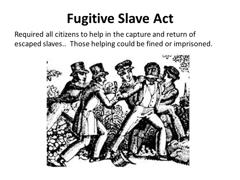 Fugitive Slave Act Required all citizens to help in the capture and return of escaped slaves.. Those helping could be fined or imprisoned.