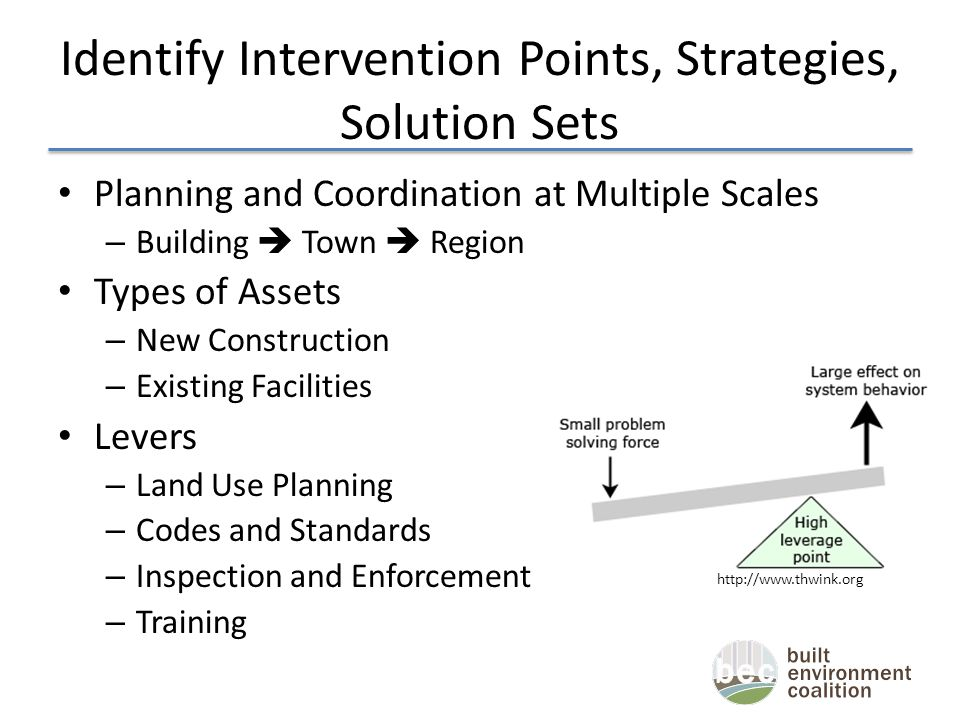 Identify Intervention Points, Strategies, Solution Sets Planning and Coordination at Multiple Scales – Building  Town  Region Types of Assets – New Construction – Existing Facilities Levers – Land Use Planning – Codes and Standards – Inspection and Enforcement – Training http://www.thwink.org