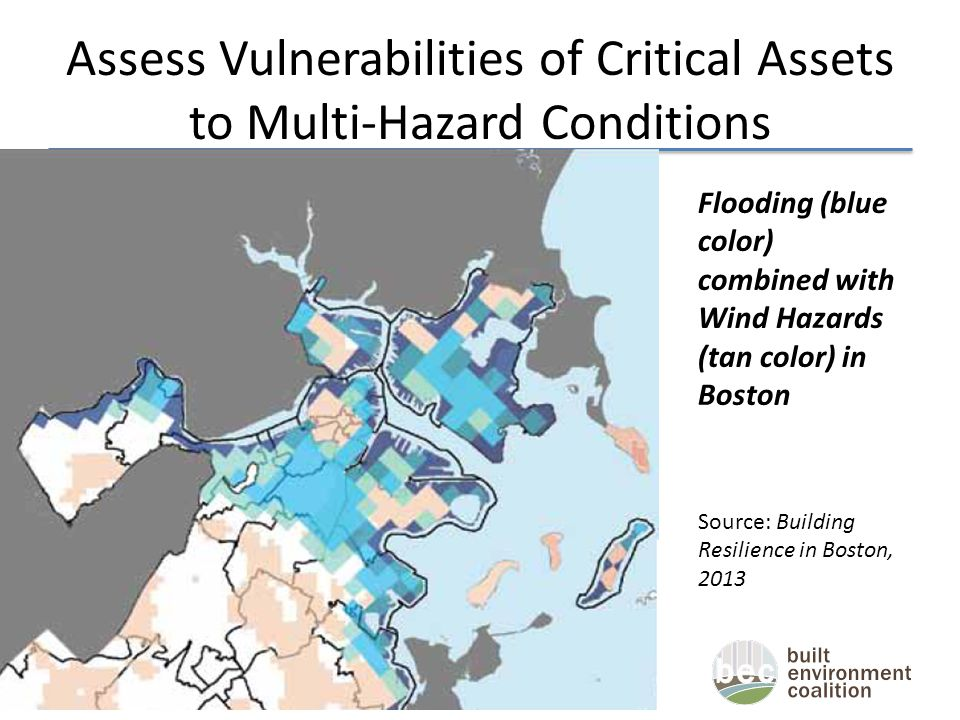 Assess Vulnerabilities of Critical Assets to Multi-Hazard Conditions Flooding (blue color) combined with Wind Hazards (tan color) in Boston Source: Building Resilience in Boston, 2013