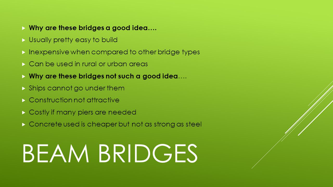 BEAM BRIDGES  Why are these bridges a good idea….