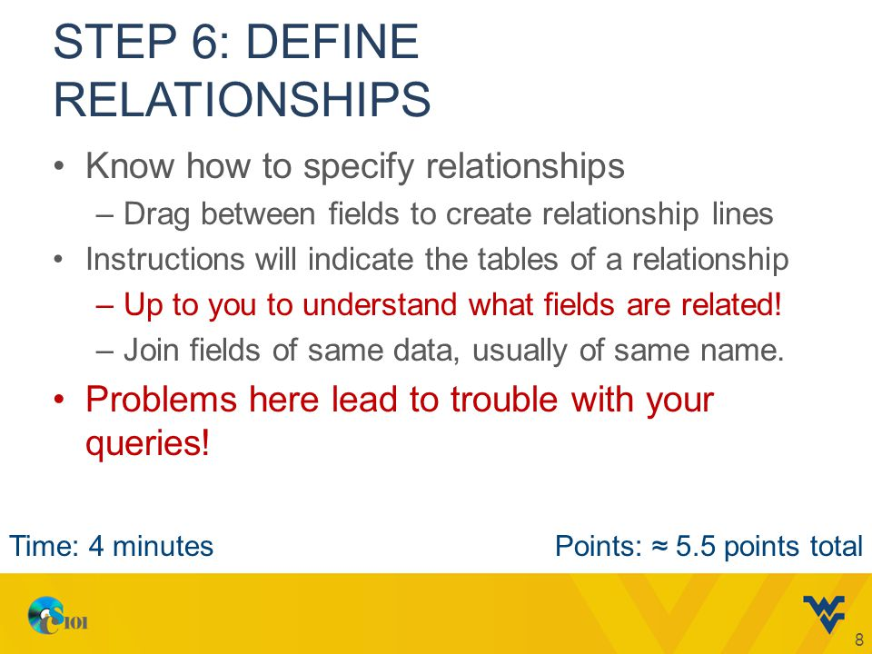 STEP 6: DEFINE RELATIONSHIPS Know how to specify relationships –Drag between fields to create relationship lines Instructions will indicate the tables of a relationship –Up to you to understand what fields are related.