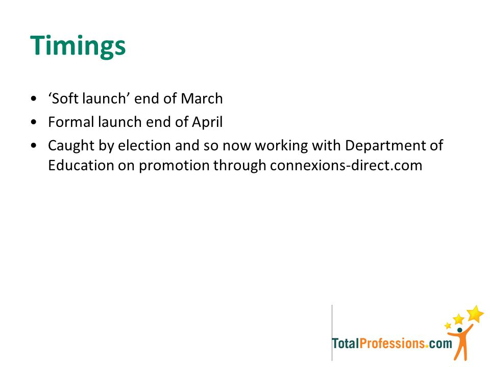 Timings 'Soft launch' end of March Formal launch end of April Caught by election and so now working with Department of Education on promotion through connexions-direct.com