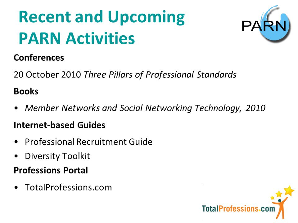 Recent and Upcoming PARN Activities Conferences 20 October 2010 Three Pillars of Professional Standards Books Member Networks and Social Networking Technology, 2010 Internet-based Guides Professional Recruitment Guide Diversity Toolkit Professions Portal TotalProfessions.com