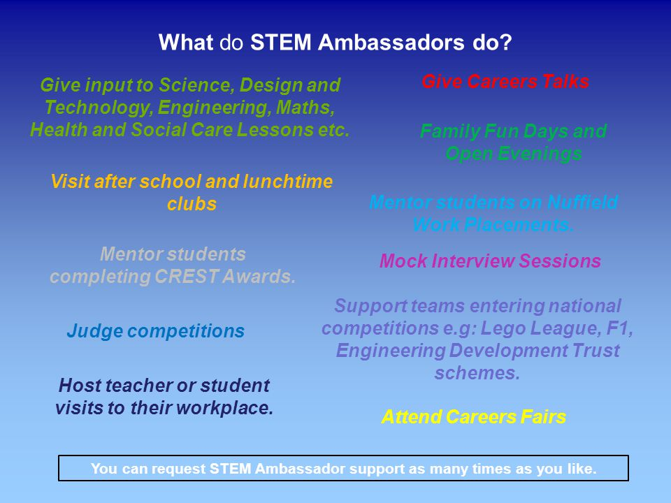STEM Ambassador visits are FREE of charge to schools